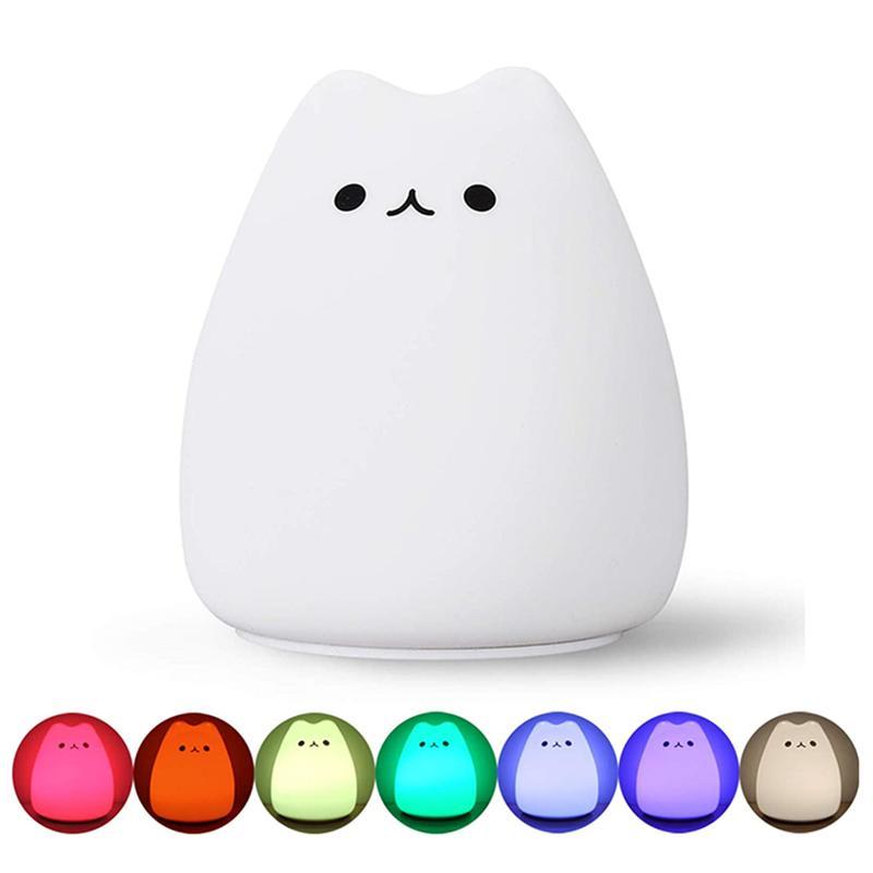 Çocuklar için Topoch Silikon Gece Lambası Mini Sevimli Kedi Renk Degrade Patting AAA Pil Powered Oyuncak Hediyeler Odası Dekor