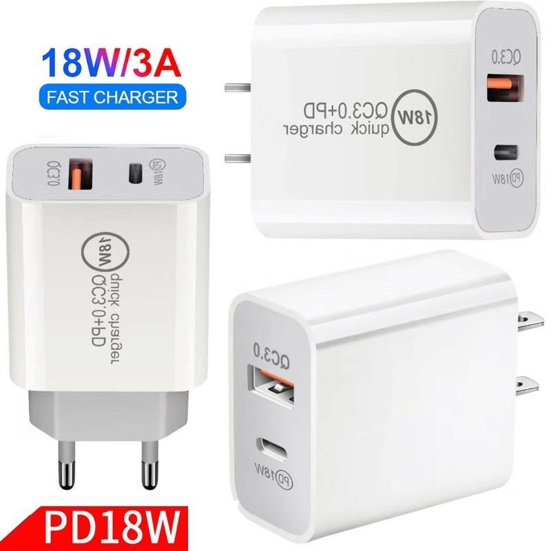 Evrensel 18 W Hızlı Hızlı Şarj PD USB C Güç Adaptörü Duvar Şarj Iphone 7 8 11 12 Samsung Huawei Android Telefon PC
