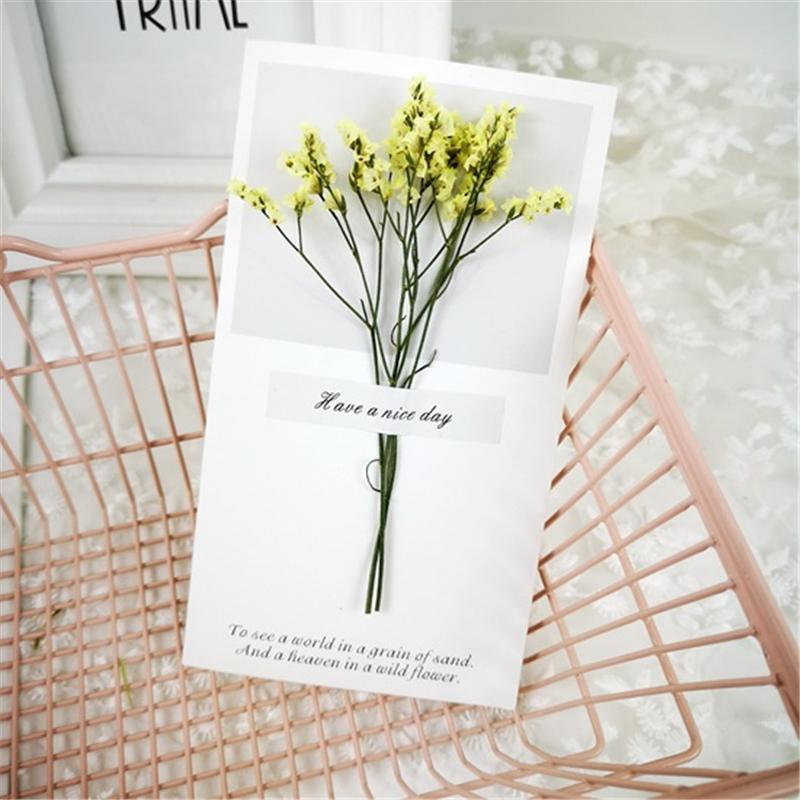 Flowers Greeting Cards Gypsophila dried flowers handwritten blessing greeting card birthday gift card wedding invitations GGA5022