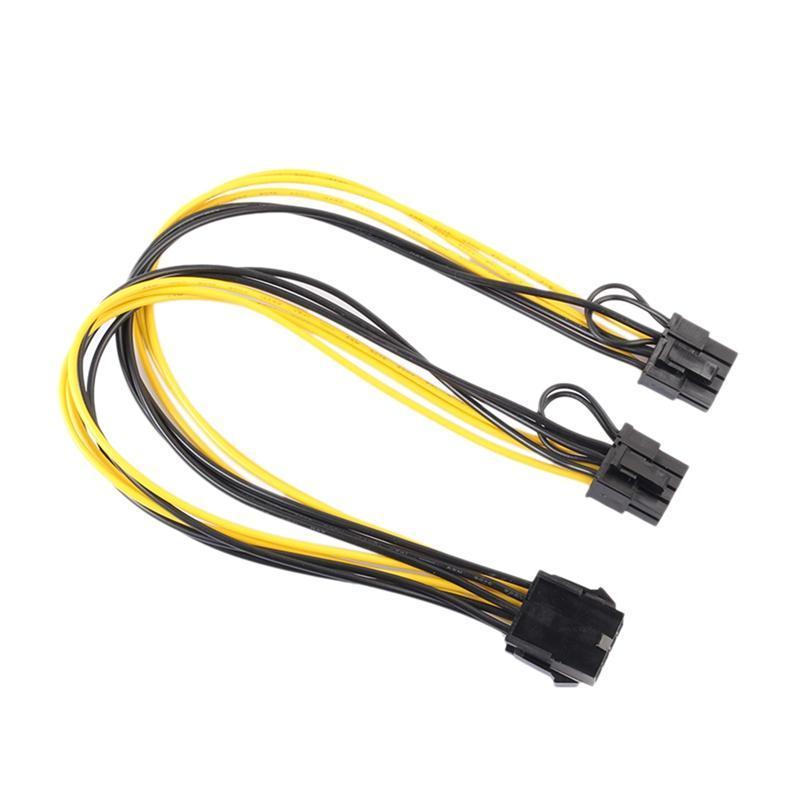 8PIN к изображению Видеокарта Двойная PCI-E PCIE (6PIN + 2PIN) Дистрибьютор питания Кабель 30см F19802 Компьютерные кабели разъемы