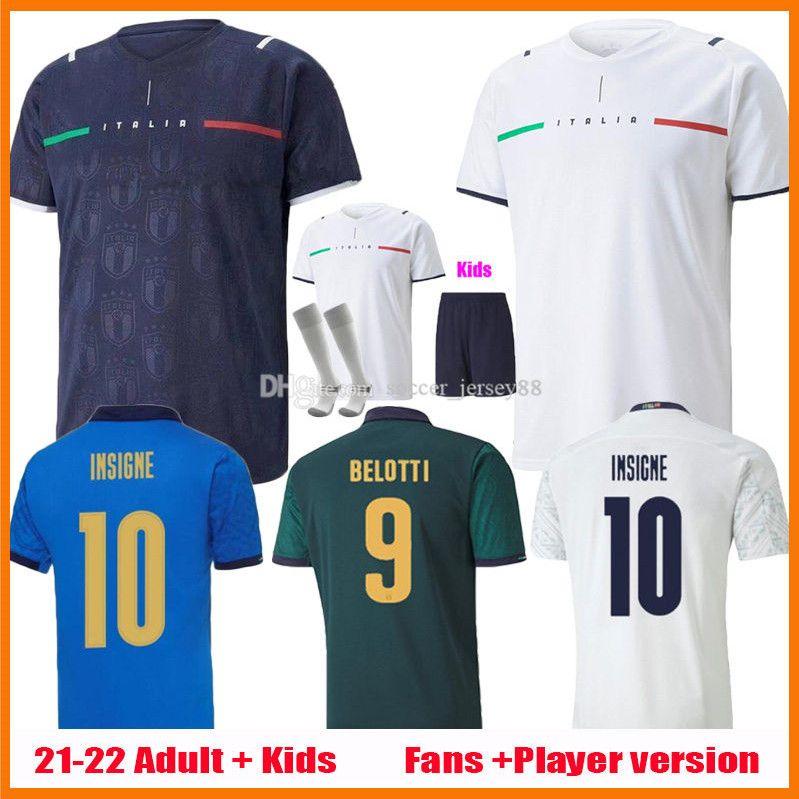 Italia Fútbol Jerseys 2021 2022 Italia Versión de jugadores Versión Barella Sensi 2021-22 Insigne 20 21 22 Alejada Chiellini Bernardedeschi Men + Kit Kit Uniformes Uniformes Camisetas de fútbol