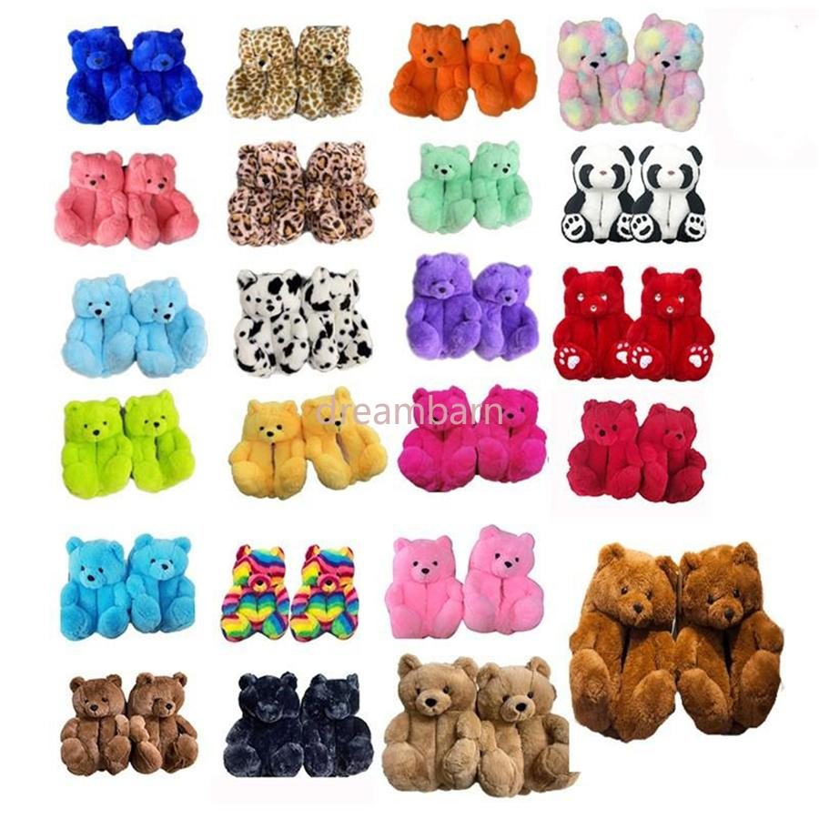 18 Styles Plush Teddy Bear House Slippers Brown Women Home Indoor Soft Anti-slip Faux Fur Fluffy Pink Slippers Winter Warm Shoes