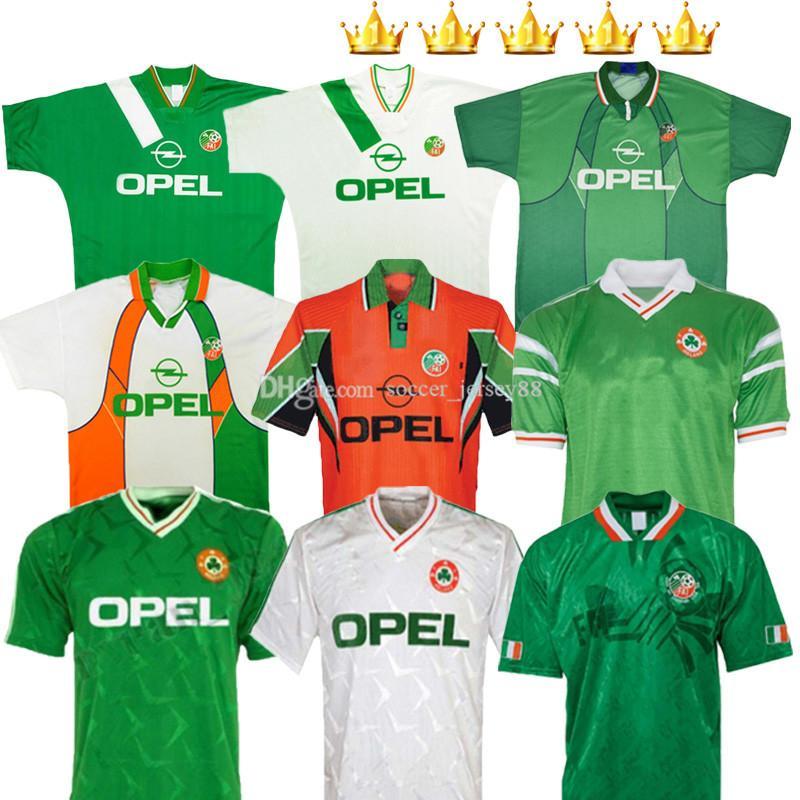 Ireland Retro Futebol Jerseys 1988 1990 1992 1994 1995 1996 1990-92 1988-90 1994-96 Home Away 88 90 92 94 95 96 97 98 1997-98 Classic Vintage Keane Irlandês Kits Football Camisa