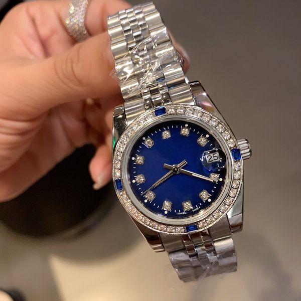 Montre de luxe dames, 31mm 36mm classique exquis, ornements de diamant, automatique mécanique, courroie en acier inoxydable de cinq perles, saphir de natation