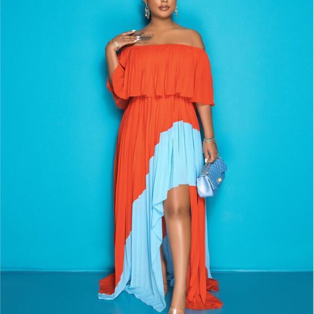 Arancione sexy fuori dalla spalla Abito a maniche corte Delle Donne Donne lunghe Tight Club Party Lady Fashion Pleated Abiti Plus Size 4XL 5XL