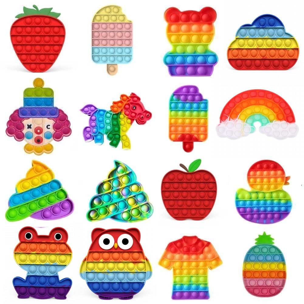 2021 Tiktok Ultima fluorescenza Push Pop Pop Bubble Sensory Sensory Giocattolo Giocattolo Autism Needs Deals Stress Stress Squeeze Sensory Toy per bambini Famiglia