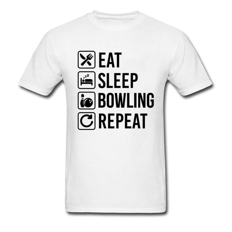 Herren T-Shirts Camiseta Con Texto en Negro Para Hombres, Camisa Citas de Comer y Dormir, Bowlinger, Repetidor, El Mejor Regalo, Juvenil,