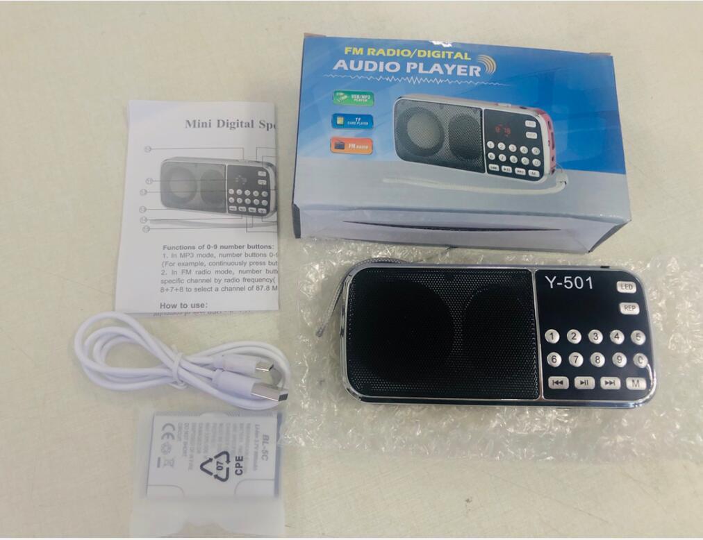 L-088 휴대용 스피커 MP3 오디오 음악 플레이어 Y-501 FM 라디오 라우드 스피커 플래쉬 라이트 USB AUX TF 슬롯 10pcs 업