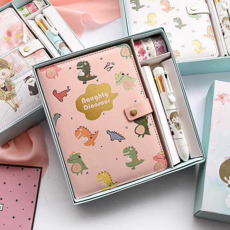 Notepads Kawaii Дневник дневника Подарочная коробка Установить Wasi ленточные журналы Progenda Planner Student Канцтовары офисные школьные принадлежности