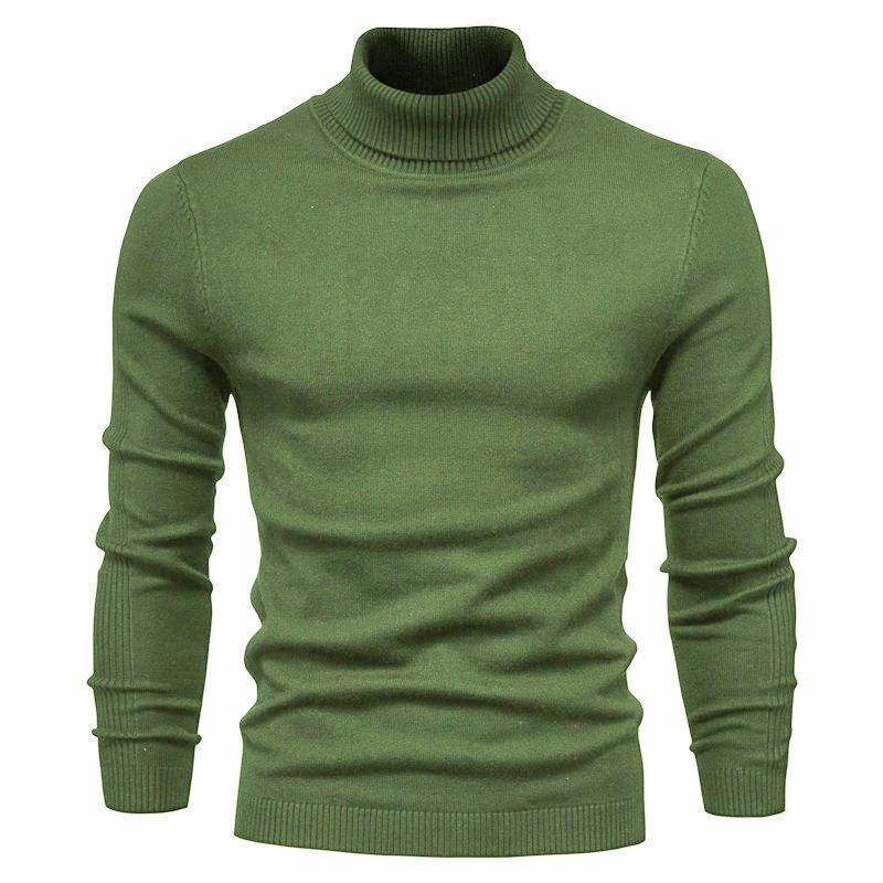 남자 스웨터 2021 가을 겨울 풀오버 스웨터 솔리드 컬러 높은 목 망 캐주얼 니트 바닥 셔츠 옷 Ropa de Hombre