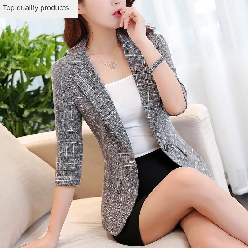 Women Blazers And Jackets 2021 Spring Autumn Plaid Blazer Slim Office Lady Suit Jacket Femme Plus Size 3xl YQ371 Women's Suits &