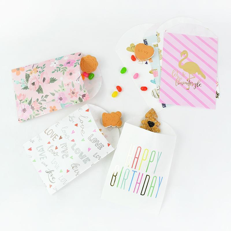 Hediye Wrap Kağıt Şeker Çanta Altın Goodie Mutlu Doğum Günü Kurabiye Snack Pişirme Paketi Düğün Favor Bebek Duş Kutusu Dekor Malzemeleri