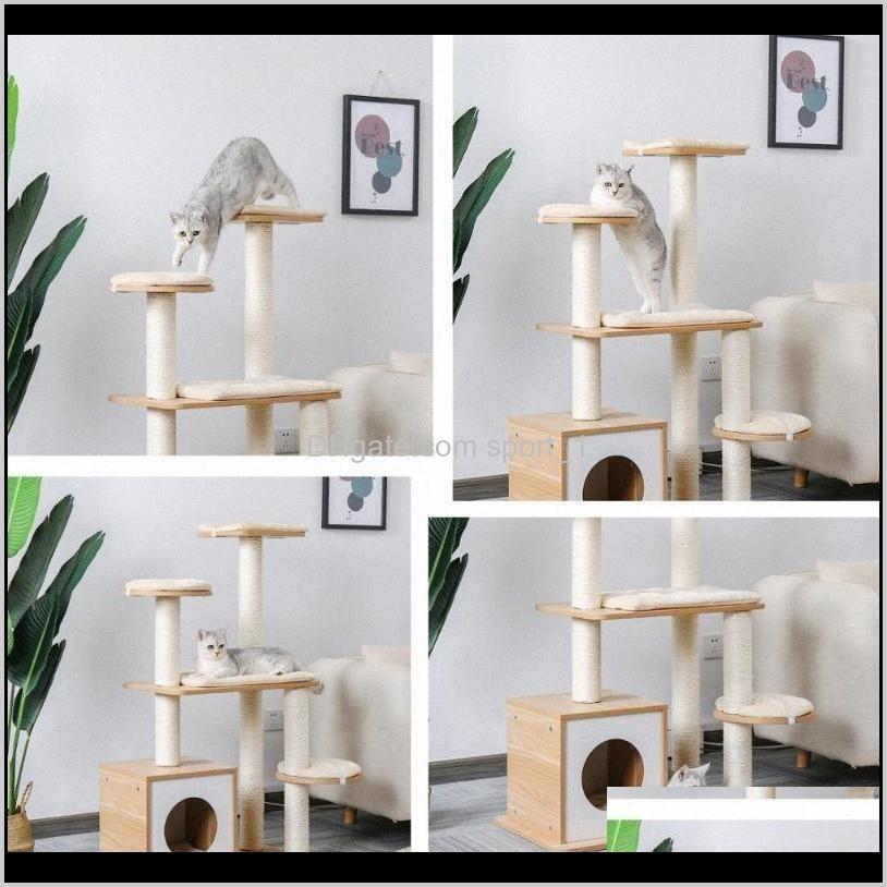 Preparación de la torre de mascotas rápida Torre de juguete Publicaciones de rasguño para gato Madera Subiendo árbol Muebles de salto Casa Condominio Nest 9XRH AD56Z J19IL