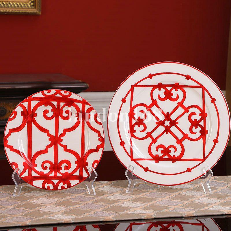 الأحمر العظام الصين البيضاوي لوحة مربع أطباق سيراميك تخدم طبق