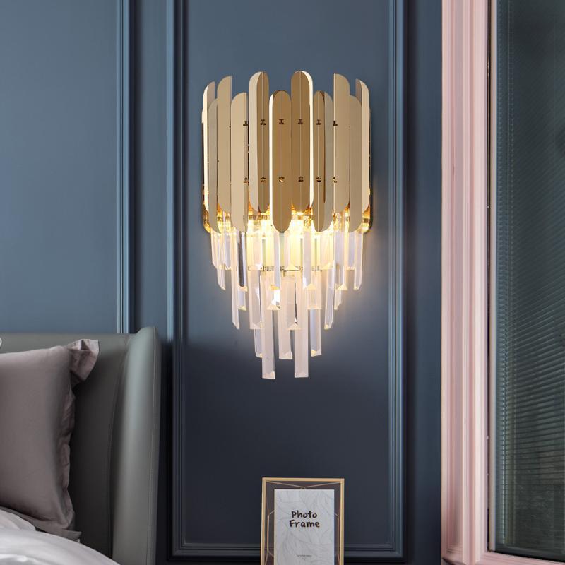 Modern LED luz de parede cristal luminaria ouro design criativo lâmpadas interiores para casa quarto de cabeceira corredor lâmpada de sconce