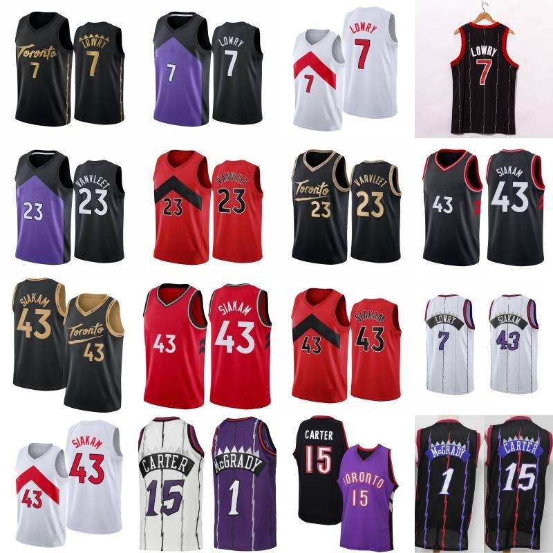 Kyle 7 Lowry Fred 23 Vanvleet Pascal 43 Siakam Basketball Jersey Tracy 1 McGrady Vince 15 Carter Retro Shirt