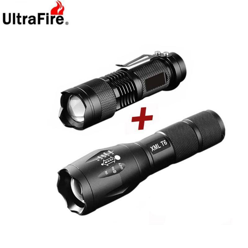 Linternas Antorchas UltraFire LED XML-T6 18650 ZOOM + Q5 Mini Linterna Táctica Flash Antorcha Impermeable Luz de Camping