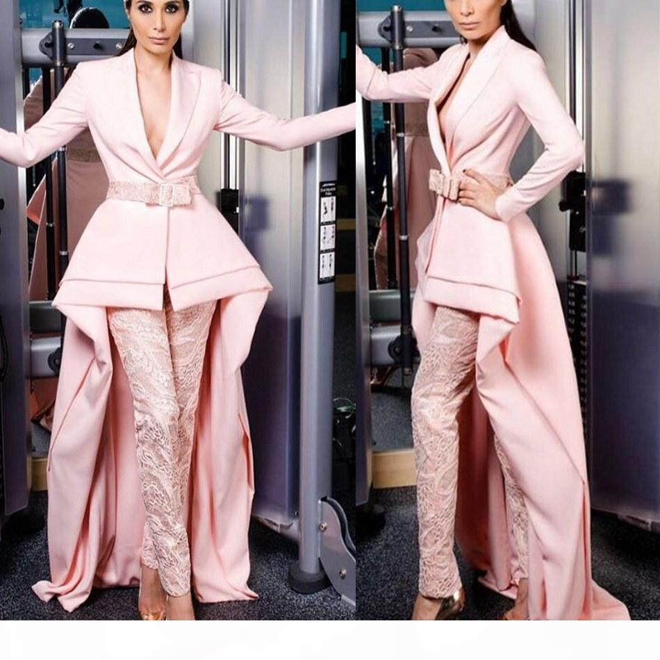 Krikor Jabotian Pink Jumpsuits Evening Dresses Long Sleeves Lace Pants Prom Gowns Suits for Women Custom Made Party Dress