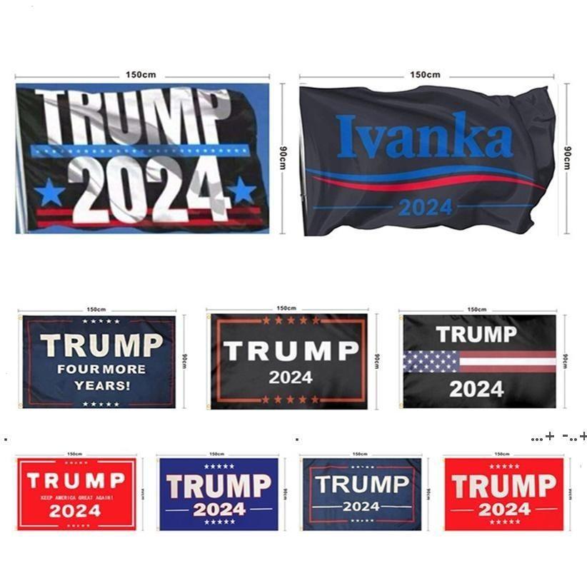 NewHanging 90 * 150 cm Trump per più anni Banner 12 Stili Trump 2024 Bandiere 3x5ft Stampa digitale Donald Trump 2024 Presidente Bandiera EWC6795