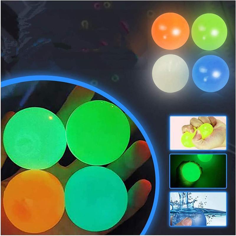 Decke klebrig wandball leuchtende fluoreszierende glühen in der dunklen party squishy anti stress anzietraum dekompression bälle dehnbare weiche squeeze erwachsene kinder spielzeug