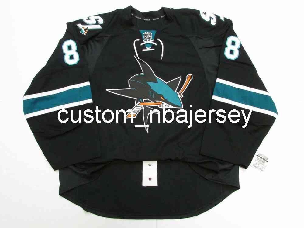 Ricamo Brent Burns San Jose Sharks Terzo hockey Jersey Hockey da uomo personalizzato Jersey Aggiungi qualsiasi Nome Numero
