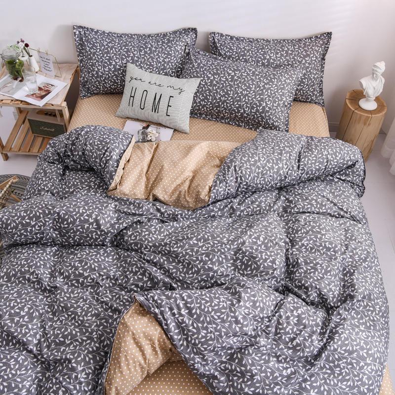 مجموعات الفراش مجموعة الملكة حجم ليتل لوف التفاعل المطبوعة غطاء لحاف ورقة السرير وسادة مزدوجة الملك أغطية السرير