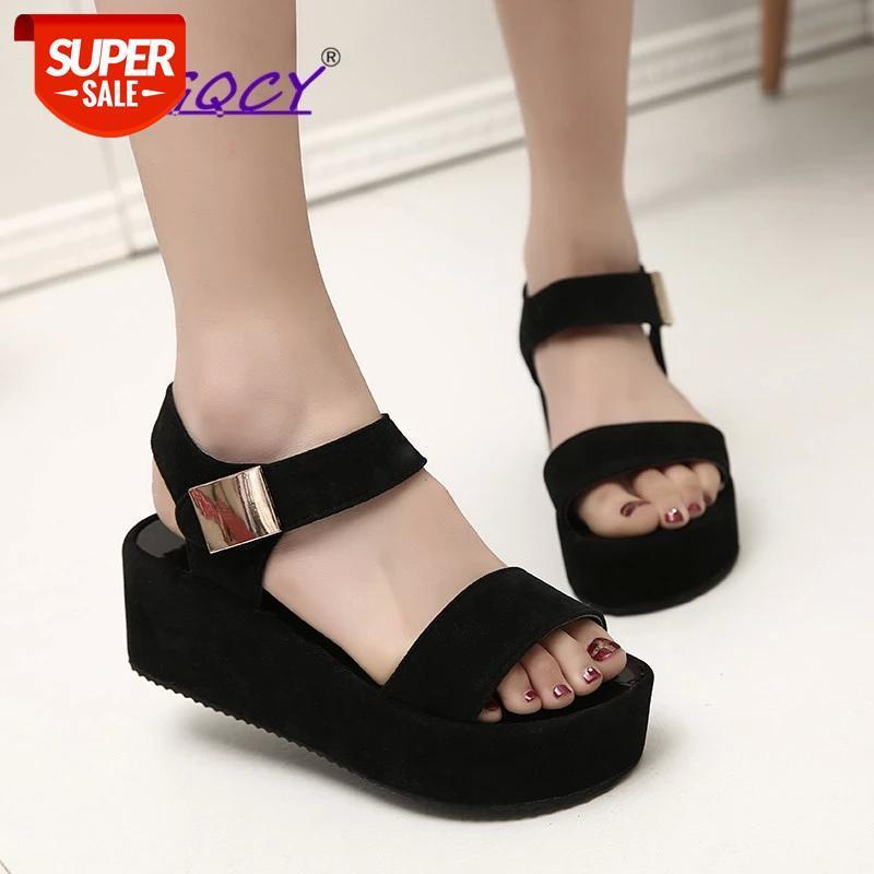 Women Wedges sandals pumps Platform heels Women's Fashion Casual Wedge Open Toe platforms Peep Hook loop High Heel Shoes #q245
