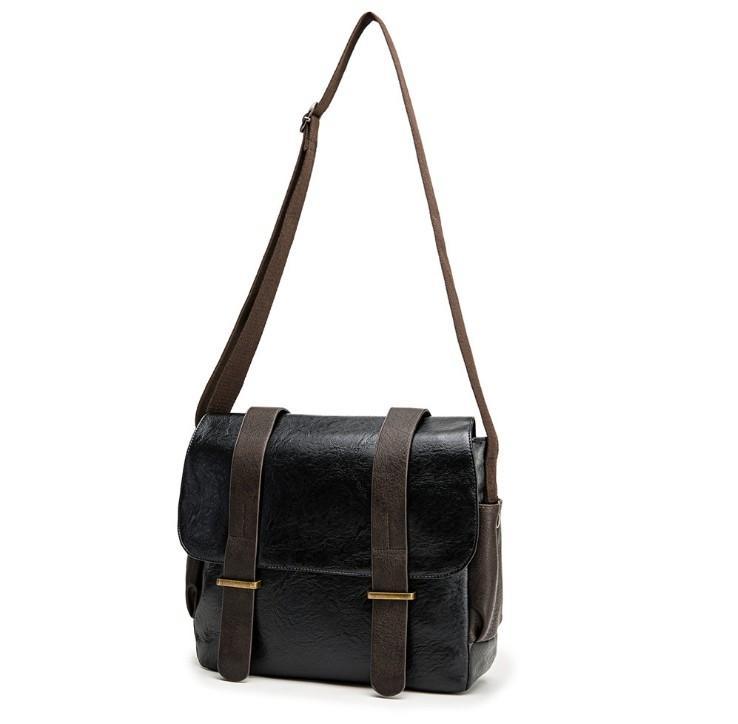 Moda de cuero Messenger Bag para hombre Single Crossbodys Vintage Casual Bolsos de hombro Zipper Purse Bolsos Masculinos