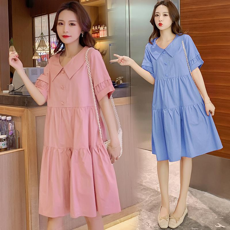 4088# Maternity Clothes Summer Cotton Turn Down Collar Short Sleeves Loose Stylish Dress Pregnant Women Mom Dresses