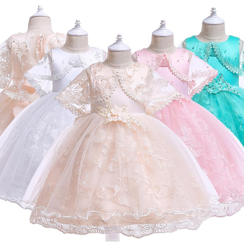 Kids Prom Princess Dress Teenager Cotton Lace Princesee Dresses Child Girls Wedding Birthday Party 2-10 Years Old Girl Skirt 1475 B3
