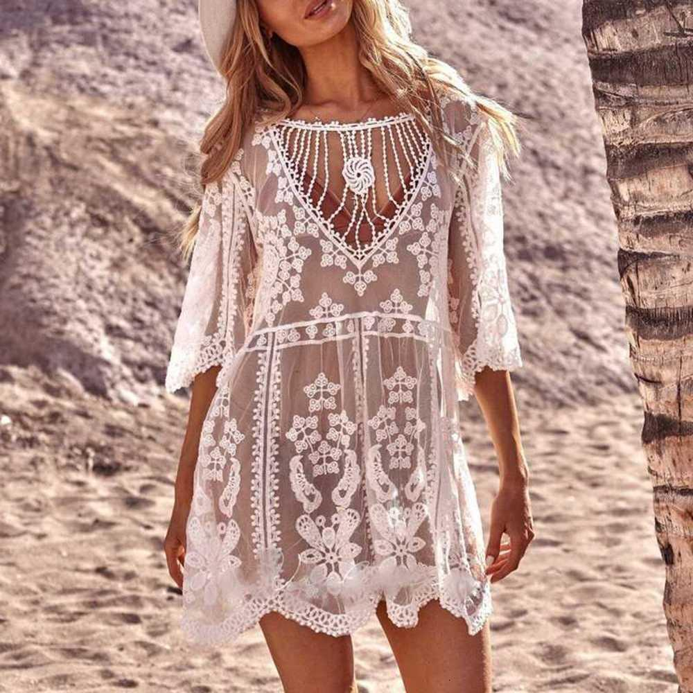 White lace swimsuit cover ups female Summer see through dress cover up women Beach wear Sleeve sexy tunic Swim beach dress