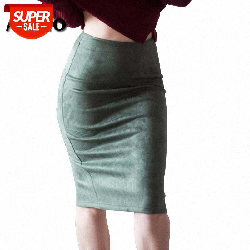 Alsooto mulheres sexy saias de cor sólida quadril hip cintura alta split saia senhora slim ajuste de qualidade partido lápis midi # jq4s