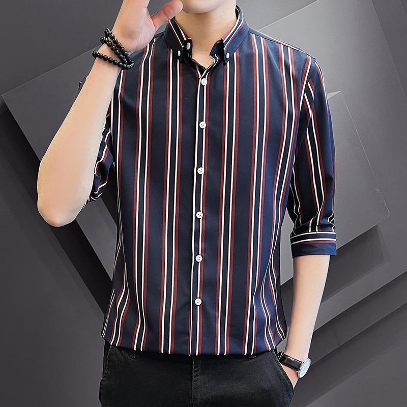 Camicie casual da uomo Plus Size Shirt manica corta da uomo A 2021 Stripe Sevens Cappotto Primavera Estate Business Slim Sense Advanced Usura maschile