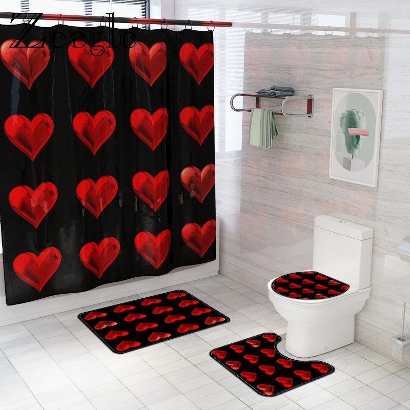 Bath Mats Romantic Love Hearts Mat And Shower Curtain Set Absorbent Bathroom Floor Carpet Foot Flannel Rug