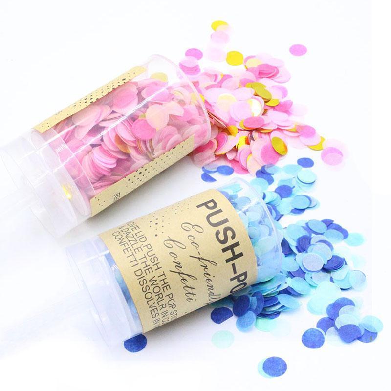 5pcs / set Push Boy Boy Girl Confetti Poppers para boda Feliz Cumpleaños Flor Mix Papel Mini Decoración de la fiesta redonda