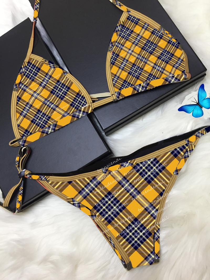 Hot Badeanzug Grid Bikini Set Frauen Streifen Bademode Schnelles Versand Badeanzüge Sexy