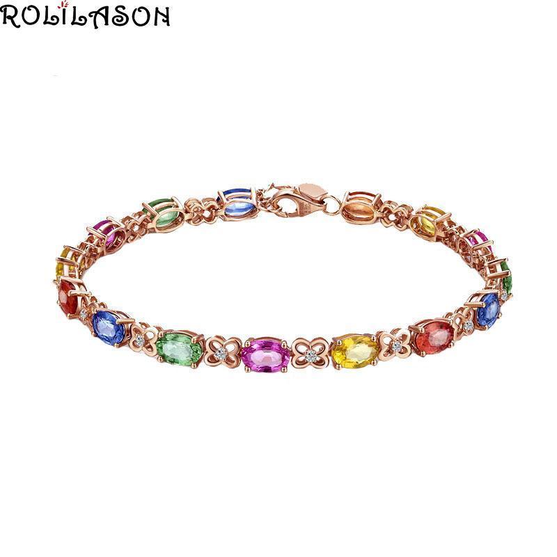 Trifoglio rosso tormalina blu champagne rosa verde braccialetto di moda temperamento rosa placcato oro nobile lusso TB1174 Bracciali di fascino