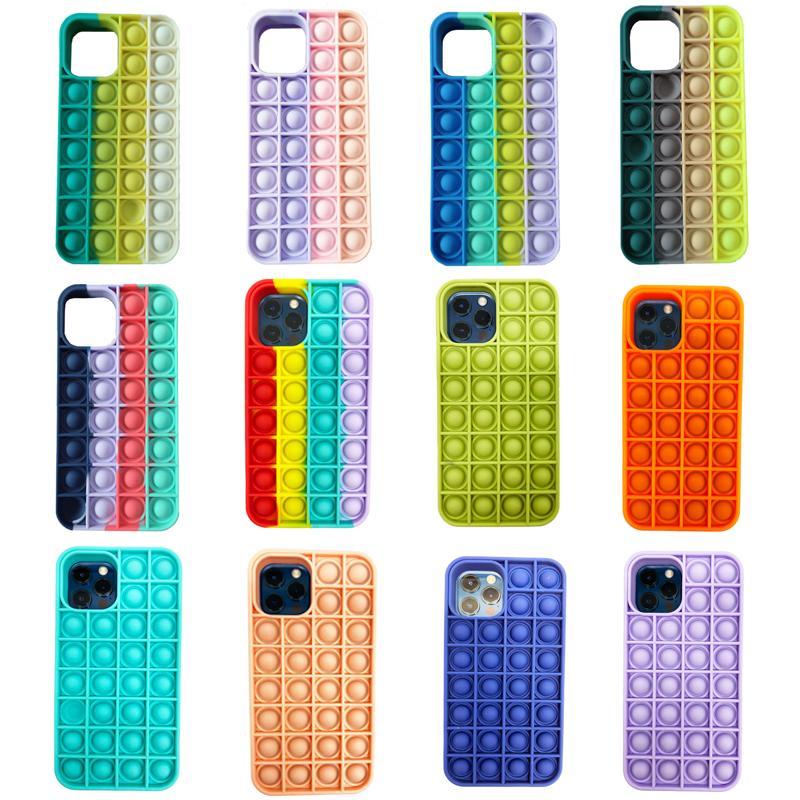 Push Bubble Cell телефон силиконовые чехлы рецидивирующие напряжение игрушки Rainbow Fidget защитная крышка для iPhone 12 Mini 11 Pro Max 8 7 Plus