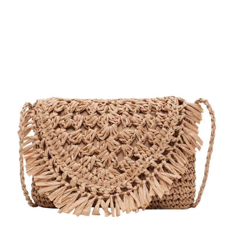 Casual Tassel Hollow Palha Embreagens para Mulheres WVere Tecido Fêmea Ombro Crossbody Bags Rattan Summer Beach Pequenas bolsas 2020 C0326