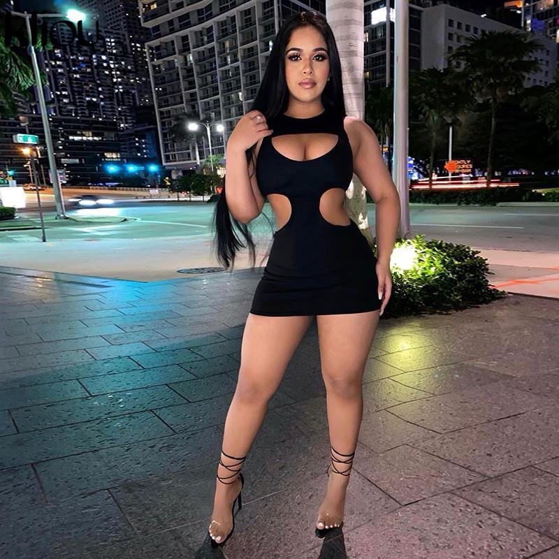 Kliou Hot Sexy Hallow Out Fiesta Mujeres Bodycon Mini Vestidos 2021 Sin mangas O-cuello Sólido Club Ropa Moda Femenino Trajes