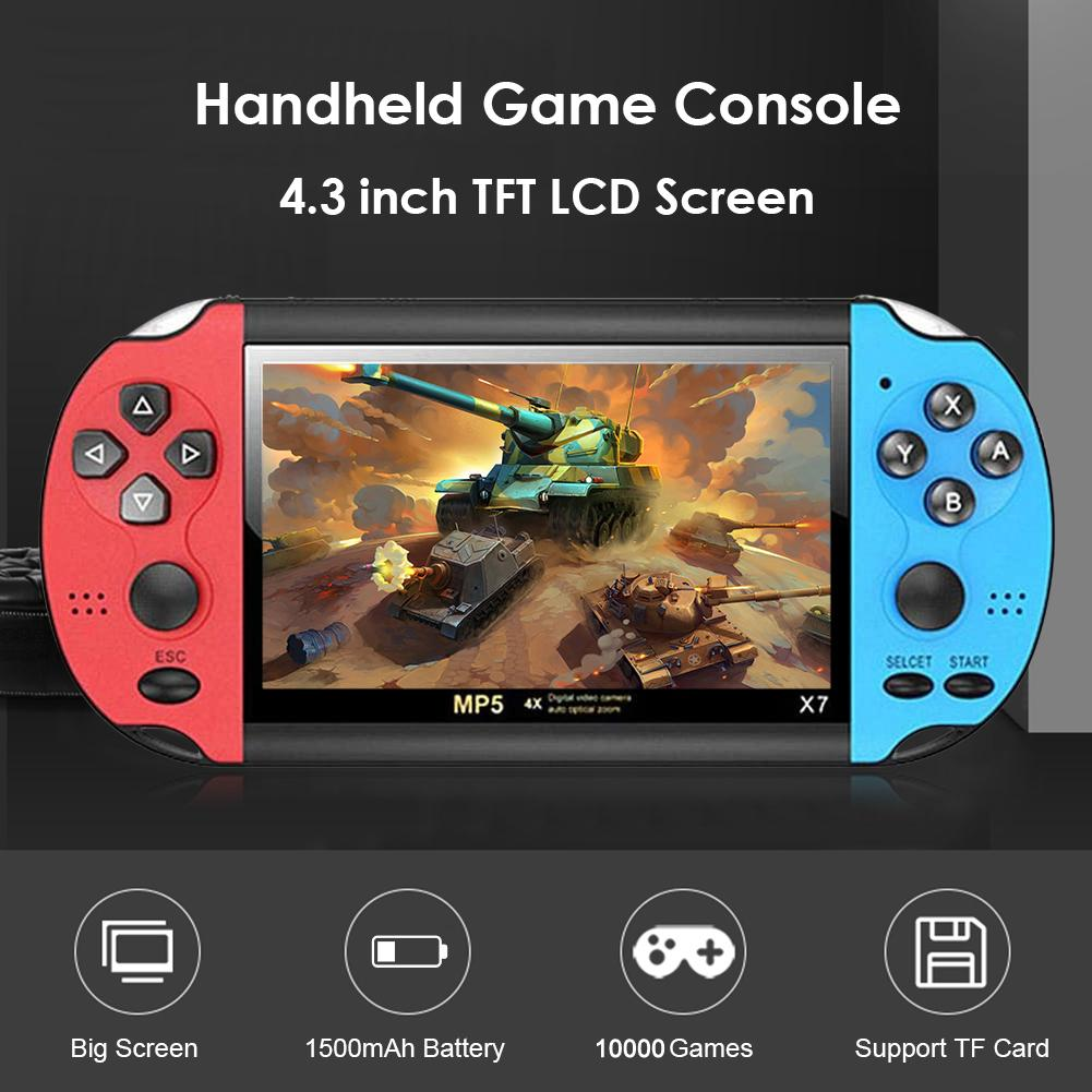 x7 4.3 인치 비디오 게임 콘솔 MP5 8GB ROM 더블 로커 듀얼 조이스틱 아케이드 게임 핸드 헬드 시스템 플레이어 휴대용 레트로 BC