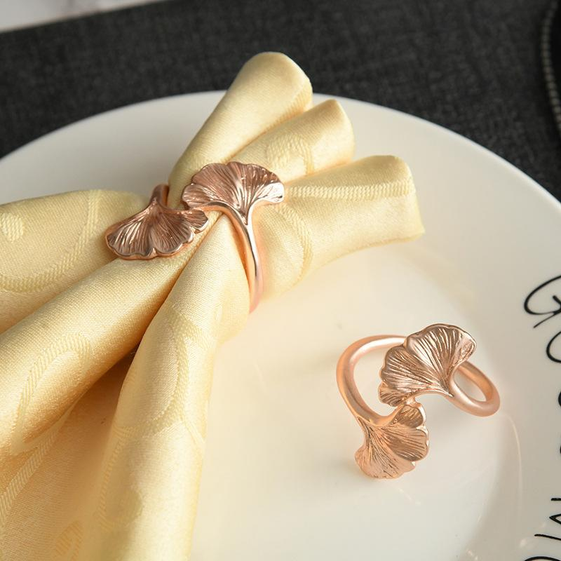 10PCS/Metal Rose Gold Apricot Leaf Napkin Ring Table Top Decoration Holder For Western Wedding Banquets, Etc. Rings