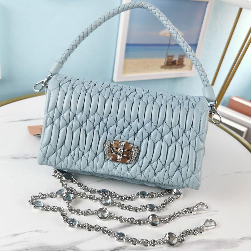 Crystal Chain Bag Handbags Purse Sheepskin Genuine Leather Shouler Bags Wrinkle Design Woven Handle Totes Fashion Letter Diamond Surface Twist Lock Top Quality