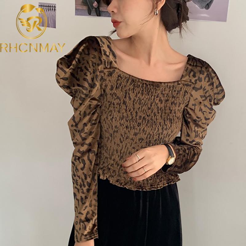 Corset Shirt Velvet Blouse Women Autumn Vintage Long Sleeve Leopard Print Tops Ladies Sexy 2021 Women's Blouses & Shirts