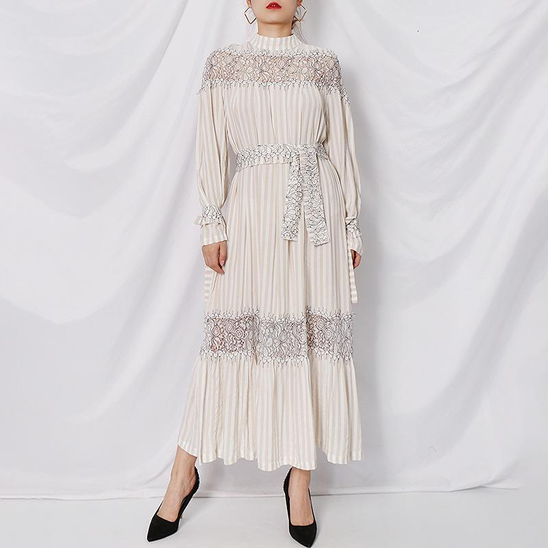 Ladies Casual Dresses Big-name summer pure cotton stripes lace elegant dress womens wear long sleeve fashion party pleated puff skirt