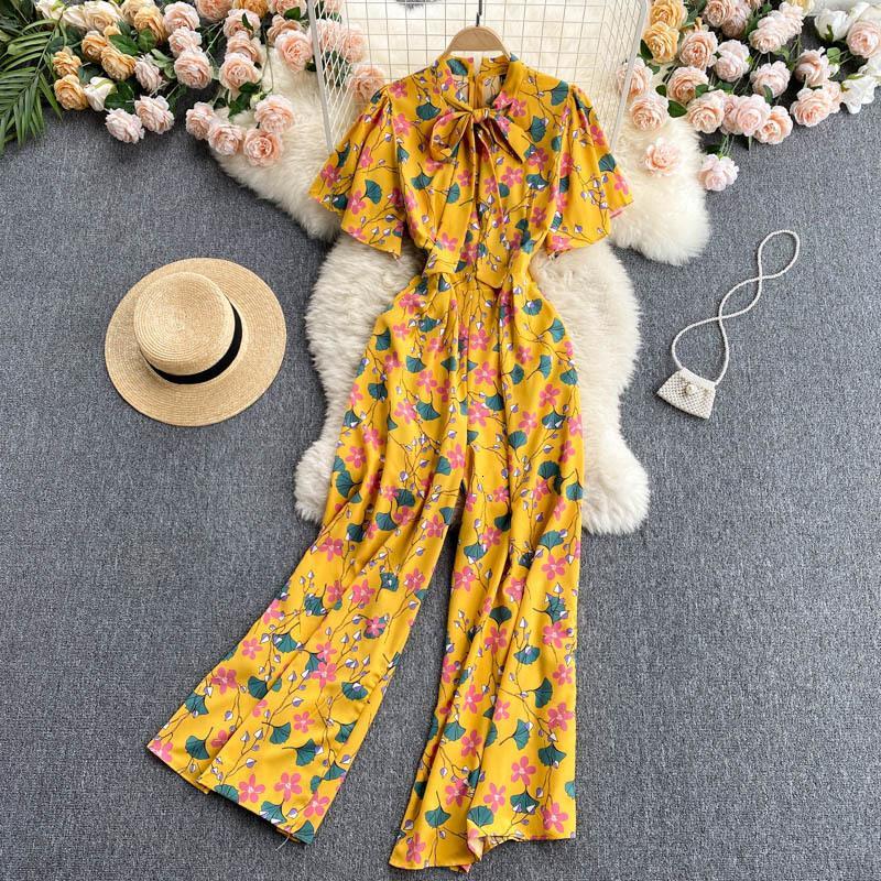 Kadın Eşofman Kadın Yaz Tulum Bowtied Yaka Kısa Kollu Çiçek Baskı Yüksek Bel Geniş Bacak Uzun Pantolon Beash Stil Rompe