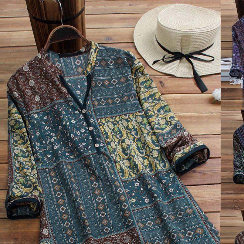 Bluz Kadın Bayan Bluzlar Kış Vintage Çiçek Baskı Patchwork Uzun Kollu Artı Boyutu Gömlek Üst