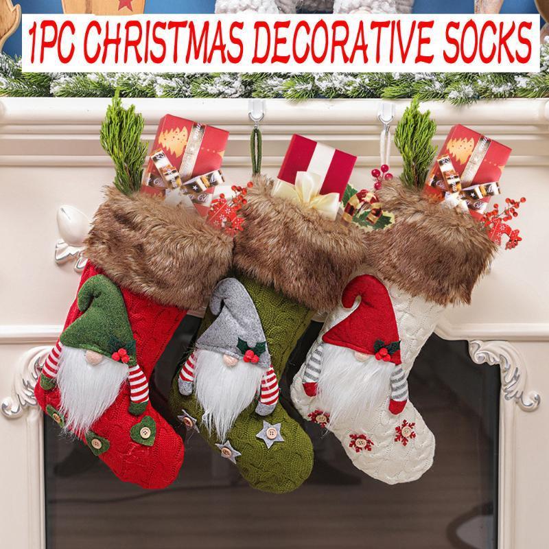 Decoraciones de Navidad Año de calcetines de medias Regalo de Navidad Bolsa de caramelo para el hogar Natal Navidad Sock Tree Pendant
