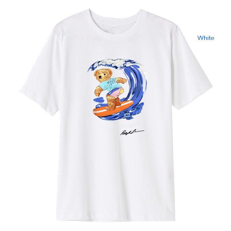 Verão de manga curta urso t-shirt impressão desenhador surf polo camisa padrão 100% algodão solto roupas casuais hip-hop