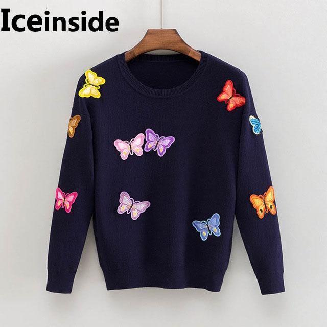 Iceinside Корейские Женщины Связанные Вышитые Пуловер Свитер Женская Бабочка Цветок Femme Tricot Потяните Джим Кореи